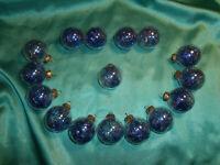 ~ 16 kleine Christbaumkugeln Glas transparent Lametta blau Weihnachtskugeln