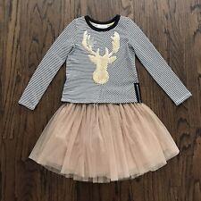 Hannah Banana Holiday Striped Deer Top + Tulle Skirt