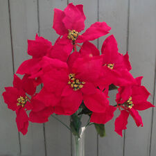 Large Artificial Poinsettia Flower Bush - Christmas Festive Flowers