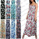 Womens Ladies Floral Print Gather Bandeau Boobtube Sheering Maxi Dress Plus Size
