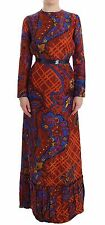 NWT $1800 Caterina Gatta Long Sleeved Multicolor Dress Gown Floral Gown 44/US10