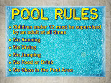 "SWIMMING ""POOL RULES"" SIGN 40x30cm weatherproof UV stable for fence, glass, wall"