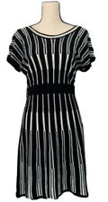 New Directions Womens Sweater Dress Black White Stripe Knee Length Scoop Neck M