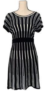 New Directions Womens Sweater Dress Black White Stripe Knee Length Scoop Neck M