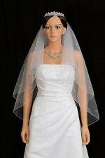 2T White Bridal Fingertip 50 Rhinestone Pencil Edge Center Gathered Wedding Veil