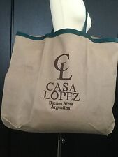 BNWOT CASA LOPEZ BUENOS AIRES VERY LARGE LIGHTWEIGHT TOTE BAG GREEN LEATHER TRIM