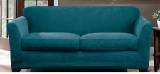 NEW Ultimate Stretch Chenille Slipcover by sure fit loveseat teal peacock blue