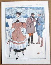 Nevil ORIGINALE VINTAGE 1916 VIE PARISIENNE stampa WW1 SOLDATI Ragazza & BARZOI DOG