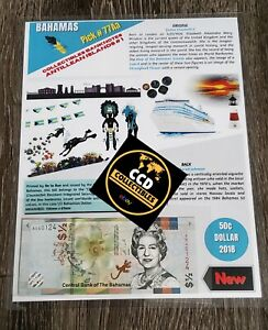 Banknote Bahamas 50 cent 2018 P-77Aa UNC / Collectibles series, Numismatic Info
