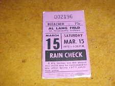 1975 St Louis Cardinals Spring Training Baseball Ticket 3/15 Bob Gibson