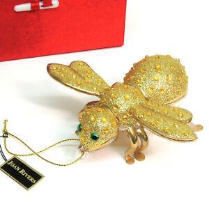 """NEW Joan Rivers European Blown Glass BEE ORNAMENT Glitter Gold Rhinestone LG 4"""""""