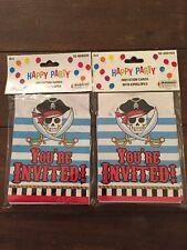 NEW Set of 16 Boy Pirate Birthday Party invitations