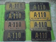 41 45 46 47 50 51 52 57 New York License Plate SAME LOW #A-110 NY Tag Plates Lot