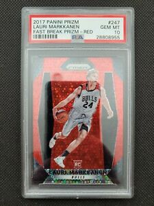 2017-18 LAURI MARKKANEN PANINI PRIZM FAST BREAK RED ROOKIE RC #91/125 PSA 10 GEM