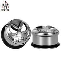 KUBOOZ Ear Piercing Gauges Stainless Steel Skull Plugs Tunnel Body Jewelry 2Pcs