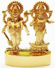 Lord Vishnu Laxmi Lakshmi Narayana Antique Gold Plated Metal Idol