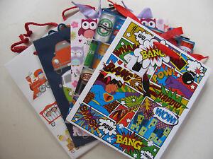 Gift Bags Various Design Medium Size Unicorn Owl Train Puppies Wow Tags Giftbags
