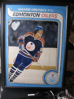 "Wayne Gretzky Rookie Hockey Card Painting (oil on canvas) 20"" x 24"" 1979 OPC #18"