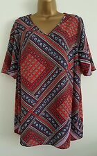 NEW Samya Plus Size16-34 Aztec Geometric Print Chiffon Tunic Top Blouse Blue Red