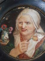 Boîte en écaille et gutta percha peinture miniature - Ecole hollandaise- C.1850