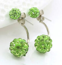 STAINLESS STEEL SHAMBALLA CRYSTAL GREEN DOUBLE BALL STUD EARRINGS 10MM