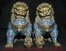 """Paire de statue de boule de lion de chien de   bronze émail cloisonné de 10,4 """""""