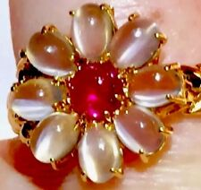 18k Cats eye Moonstone Halo natural Ruby Cats Cat's eye moonstone floral ring