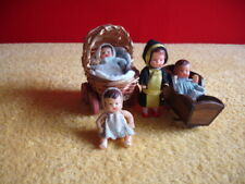 Vintage (Lot of 4 German) mini Rubber Baby Dolls, Cradle & Carriage.