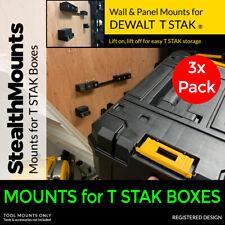 3x StealthMounts for DeWALT T STAK Boxes - Box Holder Bracket Stack Wall Mount