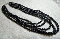 VINTAGE MULTI STRAND BLACK RESIN BEADED STATEMENT NECKLACE 26 INCH