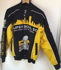 SUPER BOWL 50 NFL SNAP TWILL JACKET BLACK & GOLD MARKED MEDIUM BUT LARGE-XTRA L