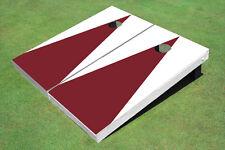 Maroon And White Matching Triangle No Stripe Custom Cornhole Board