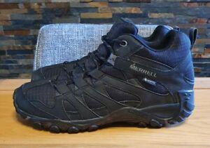 MENS MERRELL GORE-TEX CLAYPOOL SPORT MID WALKING BOOTS. SIZE 9 UK. BLACK