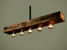 Wood Beam Ceiling Lights, Farmhouse, Suspended, Hanging Pendant Light Chandelier