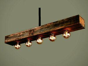 Wood Beam Ceiling Lights, Farmhouse, Suspended, Hanging Pendant Light Chandelier