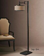 STATELY DARK CHOCOLATE BRONZE METAL FLOOR LAMP READING LIGHT & SHADE LIGHTING