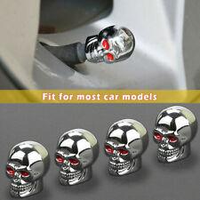 4PCS Valve Stem Caps Skull Chrome Air Caps Tire Caps Car Truck Universal