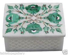 "3""x4"" Marble Jewelry Storage Box Malachite Stone Mosaic Inlay Decor Gifts H1455"