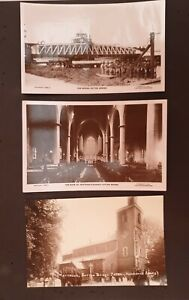 3 x V Old RP POSTCARDS Sutton Bridge Swing Bridge Nene, Church Nr Wisbech Unused