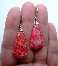 Briolette Pink Sea Sediment  Sterling Silver Earrings --- Leverbacks A0427