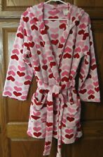 NO BOUNDRIES Junior Girls Plush Hooded Robe White w/ Pink Hearts Sz M 7-9 43:D18