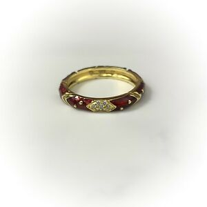Hidalgo 18K Gold and Diamond Red Enamel Ring 6.5