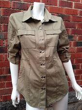 BNWOT khaki utility shirt MINTY MEETS MUNT sizeM top jacket studs military army