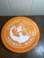 """Vintage ORANGE Neiman-Marcus EPICURE SHOP Tin Glaced Apricots 10"""""""