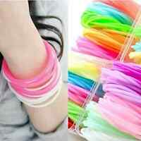 10x Luminous Neon Silicone Gummy Loom Rubber Fashion Hairband Wristband Bracelet