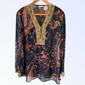 WHITE STAG L 12 14 Blouse Kaftan Top Floral Navy Blue Multi Gold Beaded Read