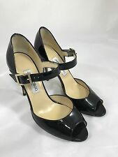 Jimmy Choo Mary Jane Peep Toe Pump in Black Patent Leather Size 39