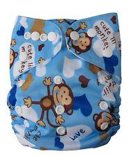 Modern Reusable Washable Baby Cloth Nappy & Insert, Boy Monkey