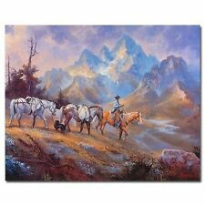 "Stephan Bauman, ""Packing out of High Country"" Cowboy art, Signed Numbered, Cert."