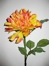 Artificial Silk Chrysanthemum Long Stem Large Yellow Orange